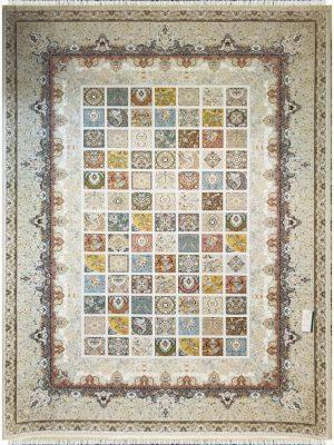 فرش ماشینی پارس نقش پرتو کرم کد 1203894